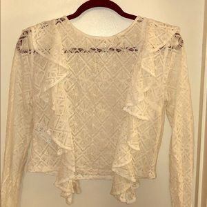 Forever 21 Diamond Lace Pattern White Ruffle Top
